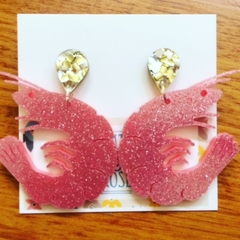 Pink Prawn glitter statement studs - prawn dangles - laser cut acrylic