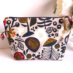 Makeup bag zippered pouch- Japanese linen cotton navy floral