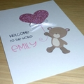 Baby Girl congratulations card - teddy bear