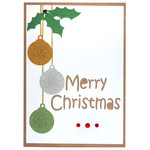 Christmas Baubles and Holly Card