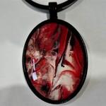 Pendant, hand painted, oval bezel