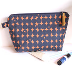 Copper and navy makeup bag or cosmetic bag