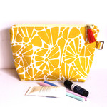 Citrus yellow makeup bag zippered pouch