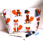 Foxes make up bag zippered pouch