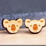 Koala Face Stud Earrings - Surgical Steel - Free Shipping