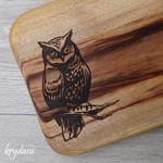 Wood Burnt Owl Camphor Laurel Cutting Board