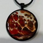Pendant, necklace, hand painted, round bezel.