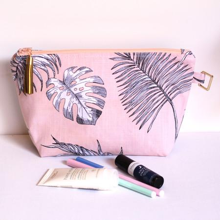 Peach fern linen zippered pouch or makeup bag