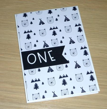1st Birthday card - Boho bear - unisex - any age