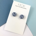 Polymer clay earrings, stud earrings in navy and white floral