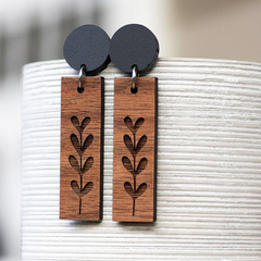 Sustainable Walnut Dangle Earrings | New Growth | Fun & Unique | Shipping Inc.