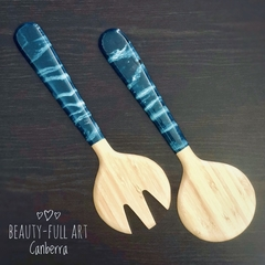 Teal and White Resin Art Bamboo Salad Server Set (2 piece)