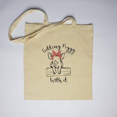 Getting piggy with it Tote Bag, pig bag, pig print bag, tote bag, Reusable bag