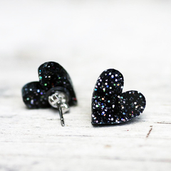 Black Glitter Heart Studs | 12mm | Sparkling Acrylic | Free Shipping | Surgical