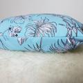 Monstera leaf blue cushion, fern leaf cushion, foliage, foliage cushion,