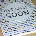 Get well soon card - blue and yellow