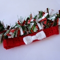 Crochet red mesh headband, white bow; Christmas Valentines birthday gift 1-5 yrs