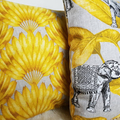 Yellow/mustard Leaf print cushion cover, mustard print, 18 inch, palm print,