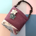Handcrafted kimono fabric handbag-  with flower brooch- fuschia & purple shibori