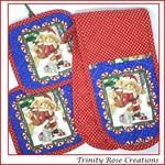 Santas List Christmas Themed | Pot Mitt and Holder Set | oven mitts pot holders