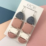 Polymer clay earrings, statement  earrings in granite grey, blush pink and white
