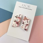 Polymer clay earrings, statement studs in marbled pink and white