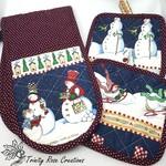 Snow Men Antics | Christmas themed | Pot Mitt Holder Set | Oven Mitt Pot Holders