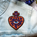 Sacred Heart Evil Eye Embroidered and Iron on Patch