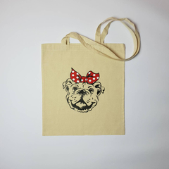 Bulldog tote bag, bulldog library bag, bulldog in top knot, tote bag,