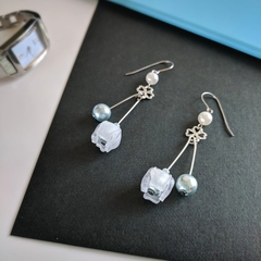 Bell Flower Duo Drop Earrings (Ice Blue) - Handmade Kawaii Flowers