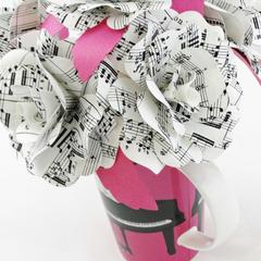 Music Sheet Paper Flowers Pink