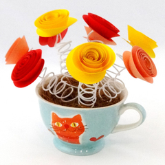 Cat Lovers Paper Flower Tea Cup