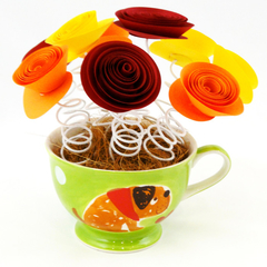 Dog Lovers Paper Flower Tea Cup