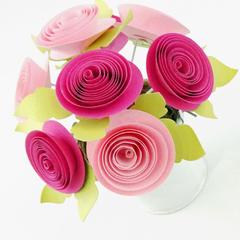 Tin Pail Pinks Paper Flowers