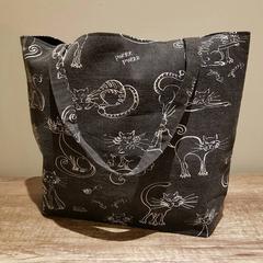 Large Cat print tote bag. Large cat bag, cat bags, cat bag, shopping bag.