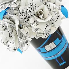 Music Sheet Paper Flowers Blue