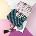 Kimono fabric coin purse or pouch with beaded tassel-teal and pale pink floral