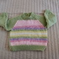 Size 6-12 months hand knitted jumper; girl, washable