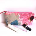 Makeup bag zippered pouch in Pink linen cotton fabric