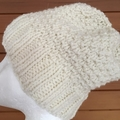 Cream alpaca beanie ladies knitted winter ski beanie knit hat