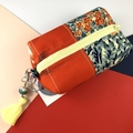 Kimono fabric coin purse or pouch with beaded tassel-yellow orange green floral