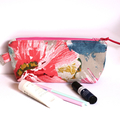Makeup bag zippered pouch in Pink linen cotton fabric
