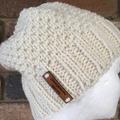 Cream alpaca beanie ladies knitted winter ski beanie knit hat