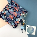 Handcrafted kimono fabric coin purse with zipper and beaded keyring