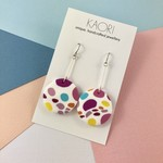 Polymer clay earrings, statement drop earrings in lilac, pink and white spots