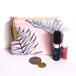 Coin purse zippered pouch- peach fern