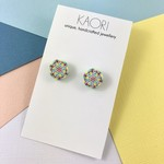 Handcrafted polymer clay stud earrings in neon yellow, pink and white mosaic
