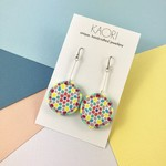 Polymer clay earrings, statement drop earrings in neon yellow, pink and white