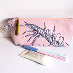 Makeup bag zippered pouch in peach fern fabric
