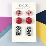 3 pack of handcrafted polymer clay stud earrings in pink red black white